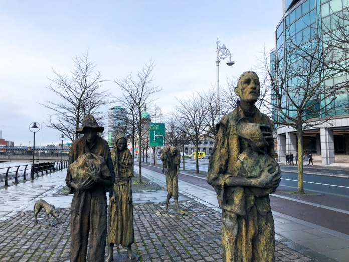 Statues of the Famine Memorial in Dublin Docklands